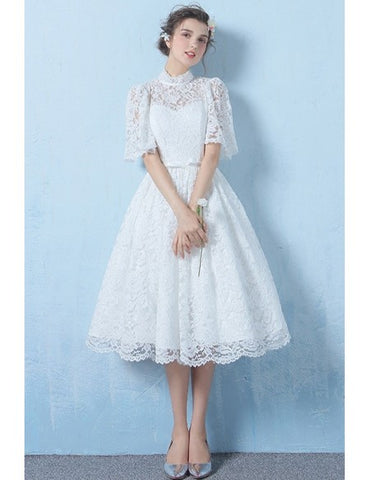 Half Sleeves A Line Tea Length High Neck Lace Wedding Dress With Belt