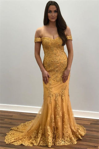 Mermaid Gold Appliques Tulle Off-The-Shoulder Prom Dress