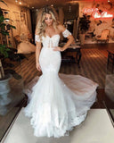 Mermaid Sweep Train Off-the-shoulder Puffy Appliques Tulle Wedding Dress