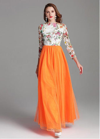 Tulle Lace Bateau Orange Long Sleeve A-line Prom Dress