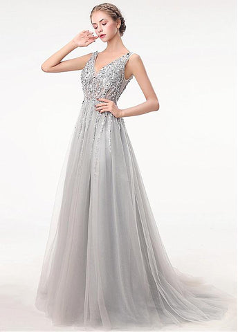 Tulle V-neck Gray Beading Backless A-line Prom Dress With Beadings