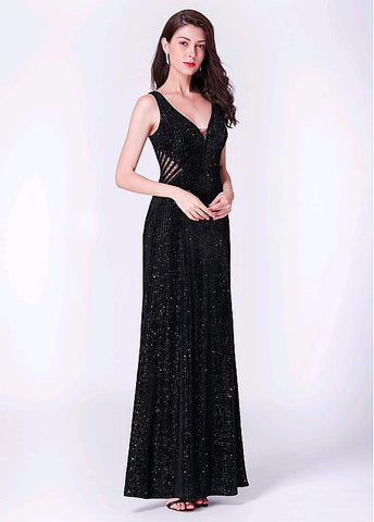 Fleece V-neck Black Sheath/Column Evening Dress