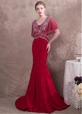 Satin V-neck Burgundy Mermaid Evening Dress With Beadings