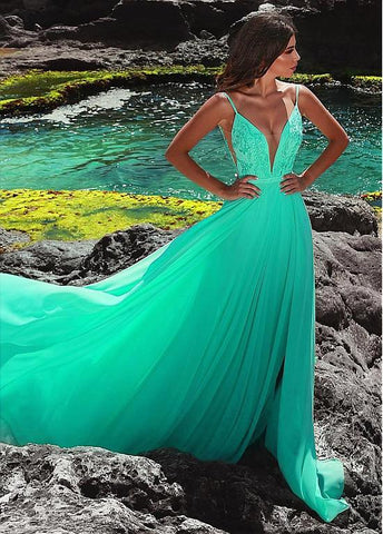 Chiffon Spaghetti Straps Green Long A-line Evening Dress