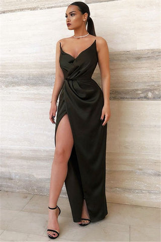 Sexy Black V-Neck Side Split Close-fitting Ruffles Prom Dress