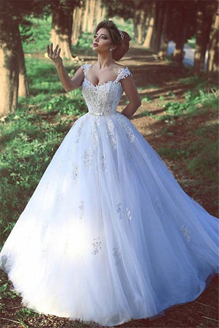 Lace Sweep Train Ball Gown Crystal Tulle Bridal Wedding Dress