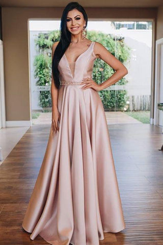 A-Line Beading Satin V Neck Blush Pink Prom Dress