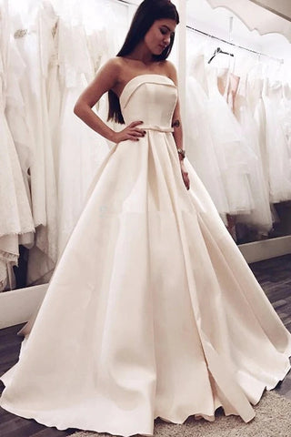 Sample Sweep Train Strapless Satin A Line Wedding Dress With Bowknot