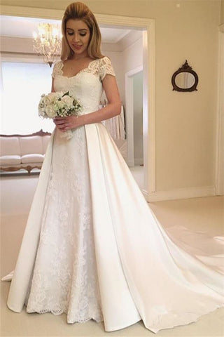 Lace Overskirt Jewel Appliques Cap Sleeves Wedding Dress
