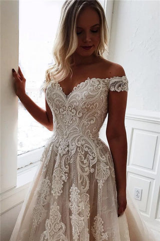 Lace Appliques Simple Sexy Off The Shoulder Wedding Dress