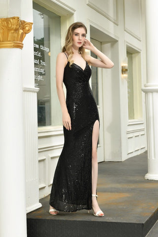 Sequin Long Spaghetti Straps Mermaid Black Prom Dress With Slit