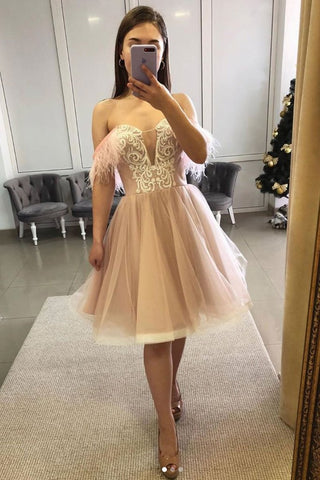 Short Feather Prom Pink Sweetheart Tulle Lace Homecoming Dress