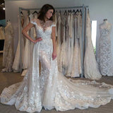 Cap Sleeves Detachable Overskirt Lace Appliques Illusion Wedding Dress