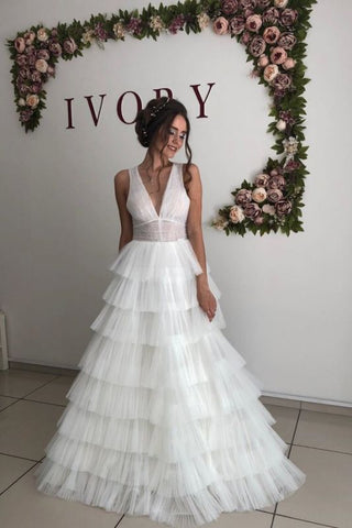 Straps V-neck Cheap A-line Tulle Ruffles Wedding Dress