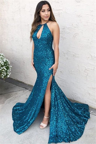 Sexy Blue Halter Sequins Side-Slit Criss-Cross Mermaid Prom Dress