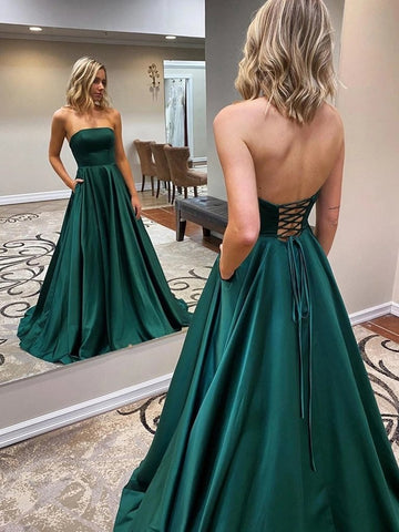 Strapless Backless Emerald Green Long Prom Dress with Pocket
