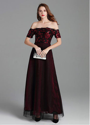 Tulle Off-the-shoulder Sequins Burgundy Evening Dress