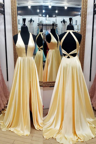 Yellow Satin Halter Backless A Line Prom Dress With Slit