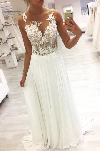See Through Chiffon White Round Neck Appliques Prom Dress
