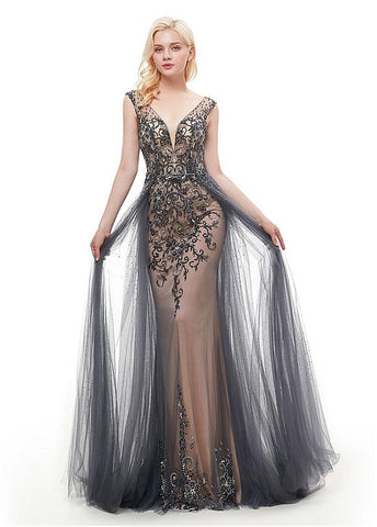 Rhinestones Gray Tulle V Neck Backless Prom Dress