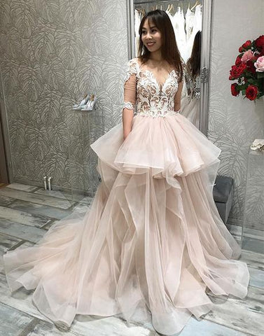Champagne Half Sleeve V Neck Appliques Tulle Prom Dress