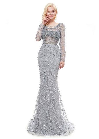 Lace Bateau Neckline Long Mermaid Formal Dress