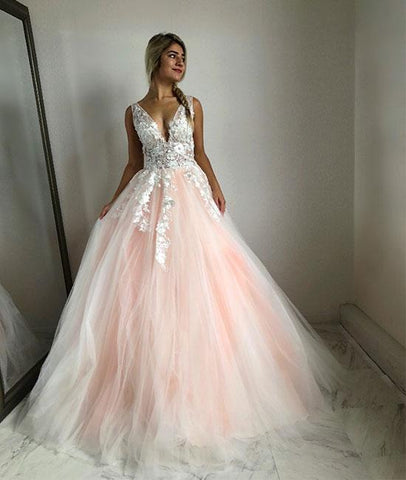 Pink V Neck Tulle Lace Appliques Wedding Dress