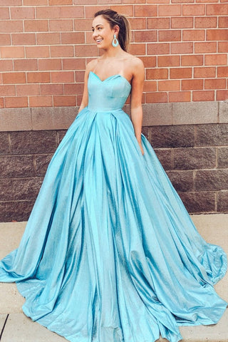 Sparkle Long Blue Sweetheart Prom Dress With Pockets