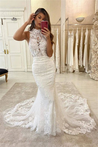 Lace Halter Appliques Sleeveless Bridal Mermaid Wedding Dress
