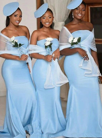 Satin Strapless Long Light Blue Mermaid Bridesmaid Dress