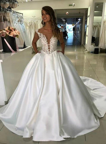 Ball Gown Satin Lace Appliques White Wedding Dress With Pocket