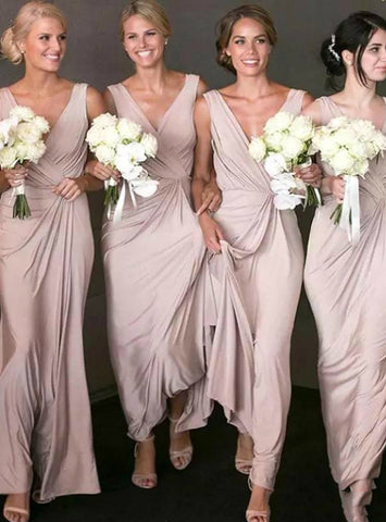 V-neck Pleats Long A-Line Pink Chiffon Bridesmaid Dress