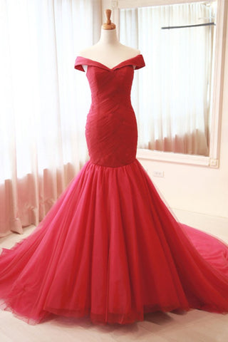 Long Off The Shoulder Red Tulle Mermaid Prom Dress