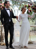 A-Line White Chiffon Appliques Long Sleeve Wedding Dress