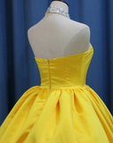 Yellow Satin Ball Gown Sweetheart Floor Length Prom Dress