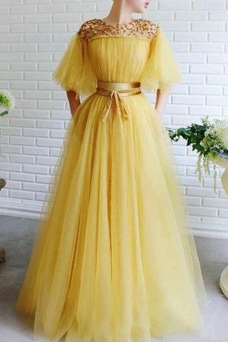 Scoop Beading A Line Yellow Tulle Cap Sleeves Prom Dress With Belt