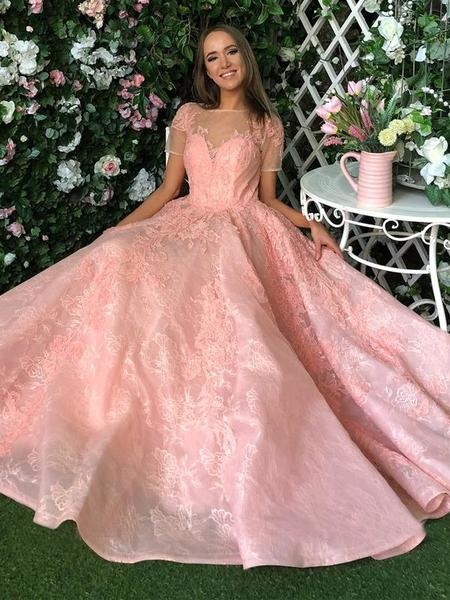 708b6be119 Blush Pink Lace Zipper Long Appliques Short Sleeves Prom Dress ...