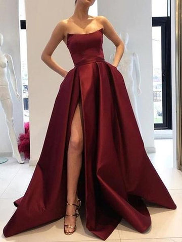 Satin Strapless Pockets Ball Gown Sexy Slit Burgundy Prom Dress