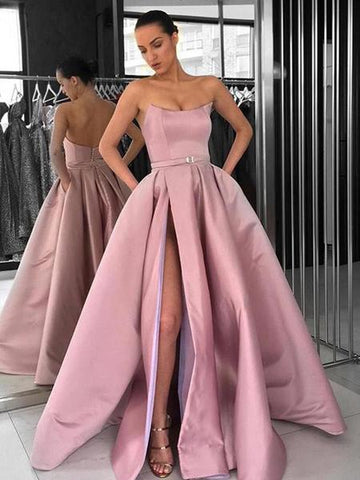 Satin Strapless Pockets Sexy Slit Dusty Pink Ball Gown Prom Dress