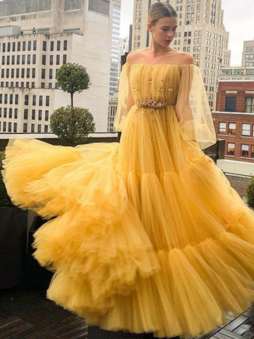 Long Sleeves Tulle Beading Off The Shoulder Yellow Prom Dress