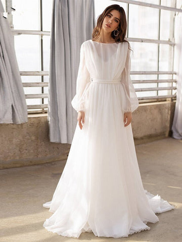 Long Sleeve Chiffon Backless A Line See Through Wedding Dress