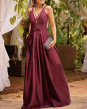 Pink V Neck Satin Floor Length A Line Sleeveless Prom Dress With Bow