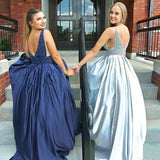 Mismatched Beading Satin Blue V Neck Sleeveless Prom Dress