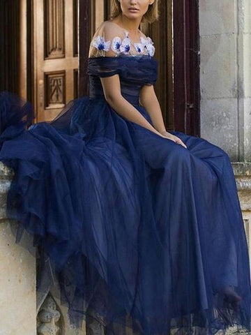 Off Shoulder Fashion Flowers Navy Tulle A-Line Prom Dress