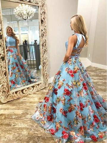 Floral Prints Two Piece Pale Blue Lace Up Back Prom Dress