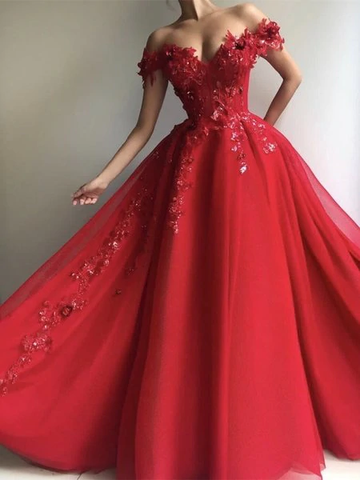 Appliques Sequins Tulle Red Long A Line Off Shoulder Prom Dress