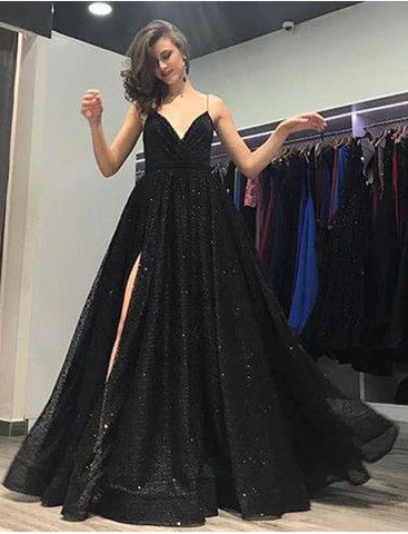 Spaghetti Straps Black Split A-Line Sequined Prom Dress