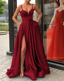 Slit Burgundy Spaghetti Straps Satin Prom Dress