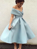 Tea Length Party Sky Blue A-Line Prom Dress