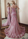 Pink Tulle Spaghetti Straps Mermaid Prom Dress